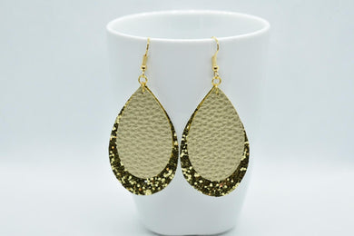 FAUX LEATHER TEARDROP EARRINGS - GOLD AND GOLDEN GLITTER - Handmade Creations by Liz