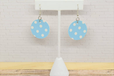 BLUE  AND WHITE POLKA DOT FAUX LEATHER EARRINGS - CIRCLE - Handmade Creations by Liz