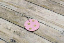 Load image into Gallery viewer, PINK AND GOLD POLKA DOT FAUX LEATHER EARRINGS - CIRCLE - Handmade Creations by Liz