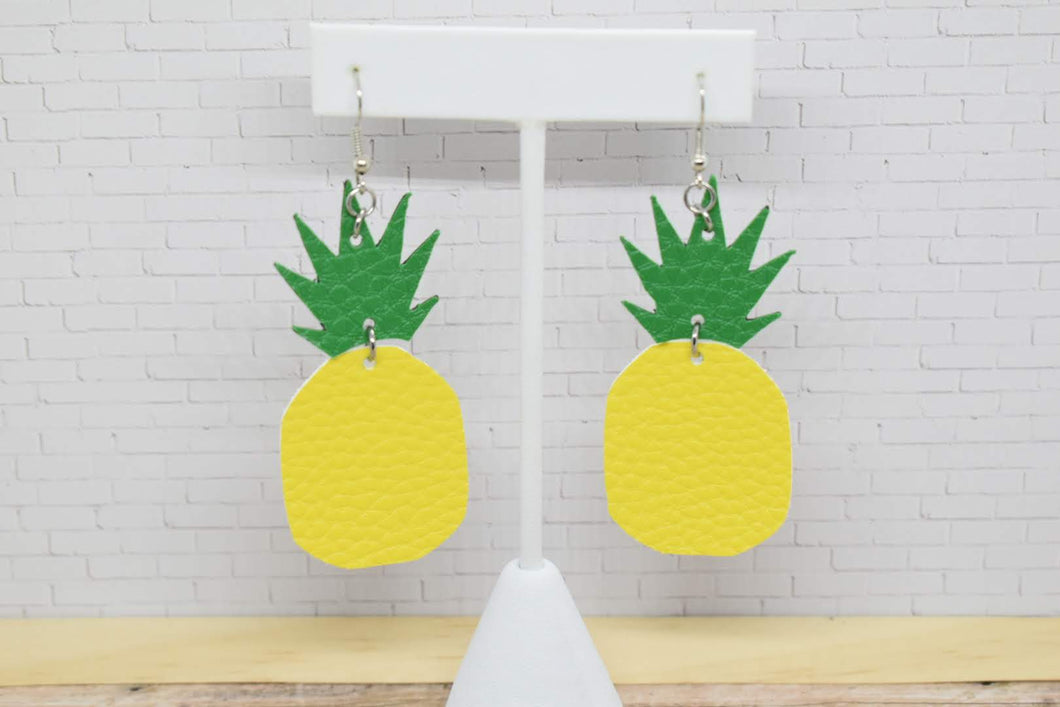 PINEAPPLE FAUX LEATHER EARRINGS - Handmade Creations by Liz