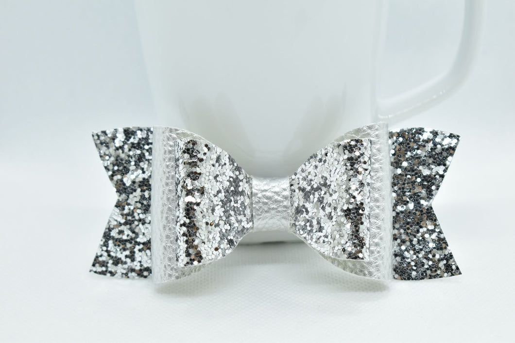 SILVER AND SILVER GLITTER FAUX LEATHER BOW - Handmade Creations by Liz