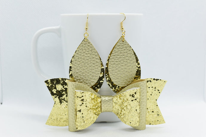 MOMMY AND ME, FAUX LEATHER DOUBLE BOW AND EARRINGS SET - GOLD AND GOLDEN GLITTER - Handmade Creations by Liz