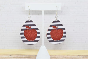 RED APPLE WHITE AND BLACK STRIPES FAUX LEATHER EARRINGS - TEARDROP - Handmade Creations by Liz