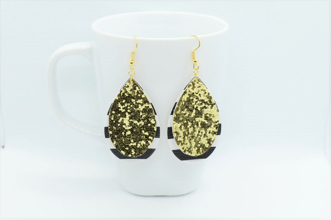 FAUX LEATHER TEARDROP EARRINGS - GOLDEN GLITTER AND STRIPES - Handmade Creations by Liz