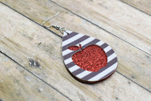 Load image into Gallery viewer, RED APPLE WHITE AND BLACK STRIPES FAUX LEATHER EARRINGS - TEARDROP - Handmade Creations by Liz