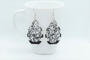 FAUX LEATHER TEARDROP EARRINGS - SILVER GLITTER AND STRIPES - Handmade Creations by Liz