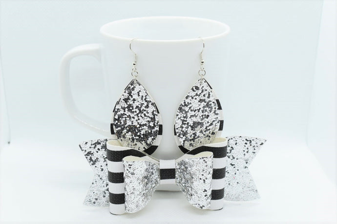 MOMMY AND ME, FAUX LEATHER DOUBLE BOW AND EARRINGS SET - SILVER GLITTER AND STRIPES - Handmade Creations by Liz