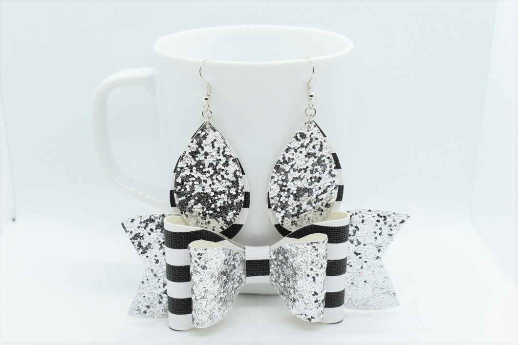 MOMMY AND ME, FAUX LEATHER BOW AND EARRINGS SET - SILVER GLITTER AND STRIPES - Handmade Creations by Liz