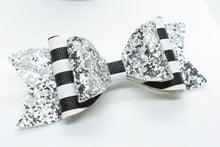Load image into Gallery viewer, MOMMY AND ME, FAUX LEATHER BOW AND EARRINGS SET - SILVER GLITTER AND STRIPES - Handmade Creations by Liz