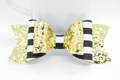 GOLDEN GLITTER AND STRIPES FAUX LEATHER BOW - Handmade Creations by Liz