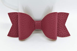 BURGUNDY FAUX LEATHER BOW - Handmade Creations by Liz