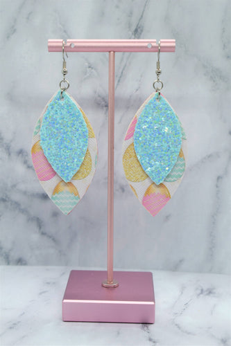 PASTEL BLUE GLITTER AND EASTER EGGS LEAF FAUX LEATHER EARRINGS