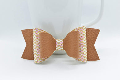 TAN AND GLITTER MESH FAUX LEATHER BOW - Handmade Creations by Liz