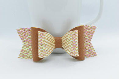 GLITTER MESH AND TAN FAUX LEATHER BOW - Handmade Creations by Liz