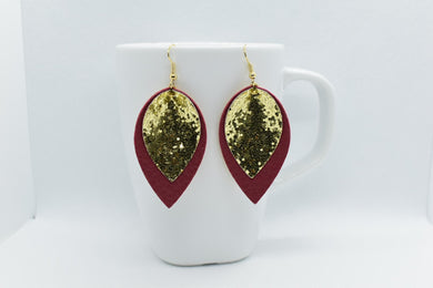 FAUX LEATHER PETAL EARRINGS - BURGUNDY AND GOLD GLITTER - Handmade Creations by Liz