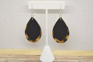 BLACK AND LEOPARD PRINT FAUX LEATHER EARRINGS - TEARDROP - Handmade Creations by Liz