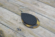 Load image into Gallery viewer, BLACK AND LEOPARD PRINT FAUX LEATHER EARRINGS - TEARDROP - Handmade Creations by Liz