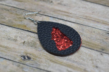 Load image into Gallery viewer, BLACK AND RED GLITTER WOLF FAUX LEATHER EARRINGS - TEARDROP - Handmade Creations by Liz