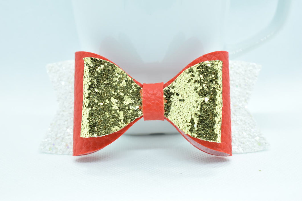 GOLD, RED AND WHITE GLITTER FAUX LEATHER BOW - Handmade Creations by Liz