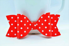 Load image into Gallery viewer, RED WITH WHITE POLKA DOTS FAUX LEATHER BOW - Handmade Creations by Liz