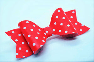 RED WITH WHITE POLKA DOTS FAUX LEATHER BOW - Handmade Creations by Liz