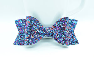 BLUE/PURPLE GLITTER FAUX LEATHER BOW - Handmade Creations by Liz
