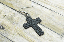 Load image into Gallery viewer, BLACK FAUX LEATHER EARRINGS - CROSS - Handmade Creations by Liz