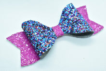Load image into Gallery viewer, BLUE/PURPLE AND FUCHSIA GLITTER FAUX LEATHER BOW - Handmade Creations by Liz