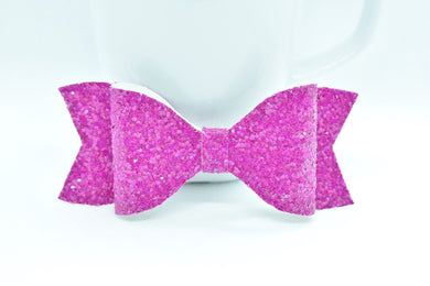 FUCHSIA GLITTER FAUX LEATHER BOW - Handmade Creations by Liz