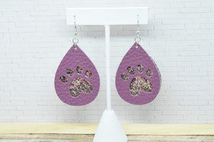 PLUM AND PURPLE SILVER GLITTER PAW PRINTS STRIPES FAUX LEATHER EARRINGS - TEARDROP - Handmade Creations by Liz