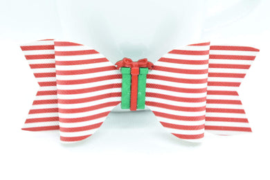 RED AND WHITE STRIPES WITH GREEN PRESENT FAUX LEATHER BOW - Handmade Creations by Liz
