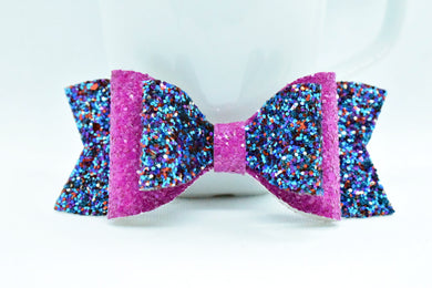 BLUE/PURPLE AND FUCHSIA GLITTER FAUX LEATHER BOW - Handmade Creations by Liz