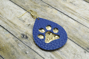 ROYAL BLUE AND GOLD GLITTER PAW PRINTS STRIPES FAUX LEATHER EARRINGS - TEARDROP - Handmade Creations by Liz