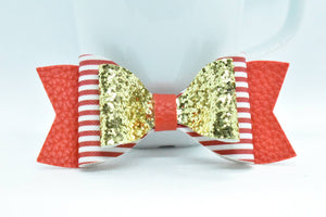 FAUX LEATHER DOUBLE BOW - GOLD, RED AND WHITE STRIPES, AND RED - Handmade Creations by Liz