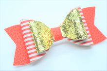 Load image into Gallery viewer, FAUX LEATHER DOUBLE BOW - GOLD, RED AND WHITE STRIPES, AND RED - Handmade Creations by Liz