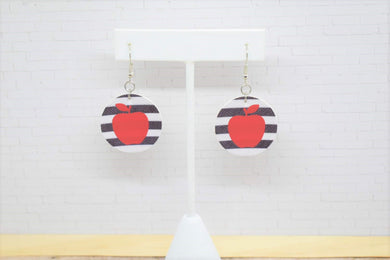 RED APPLE WHITE AND BLACK STRIPES FAUX LEATHER EARRINGS - CIRCLE - Handmade Creations by Liz