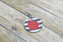 Load image into Gallery viewer, RED APPLE WHITE AND BLACK STRIPES FAUX LEATHER EARRINGS - CIRCLE - Handmade Creations by Liz