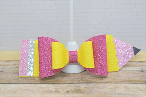 GLITTER PENCIL - FAUX LEATHER BOW