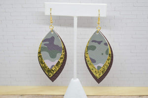 CAMO, GOLD GLITTER AND BROWN FAUX LEATHER EARRINGS - LEAF