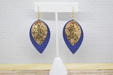 GOLD GLITTER AND ROYAL BLUE FAUX LEATHER EARRINGS - MAGNOLIA