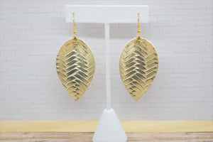 GOLD BRAIDED FAUX LEATHER EARRINGS - MAGNOLIA