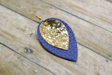 Load image into Gallery viewer, GOLD GLITTER AND ROYAL BLUE FAUX LEATHER EARRINGS - MAGNOLIA