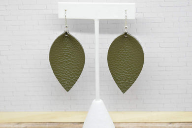 OLIVE GREEN FAUX LEATHER EARRINGS - MAGNOLIA