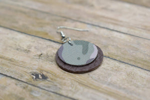 CAMO AND BROWN FAUX LEATHER EARRINGS - CIRCLE