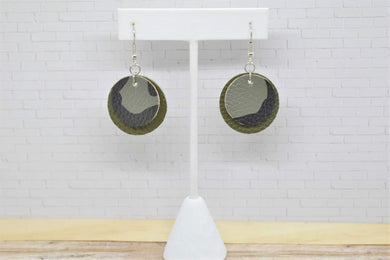 DARK CAMO AND OLIVE GREEN FAUX LEATHER EARRINGS - CIRCLE