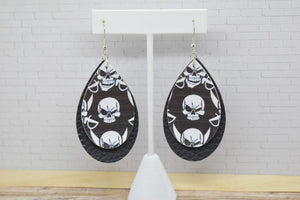 SKULLS WITH BLACK FAUX LEATHER EARRINGS - TEARDROP - Handmade Creations by Liz