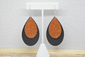 ORANGE SHIMMER AND BLACK FAUX LEATHER EARRINGS - TEARDROP - Handmade Creations by Liz