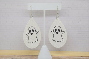 HALLOWEEN WHITE WITH GHOST FAUX LEATHER EARRINGS - TEARDROP - Handmade Creations by Liz
