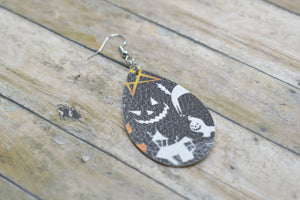 HALLOWEEN HAUNTED HOUSE FAUX LEATHER EARRINGS - TEARDROP - Handmade Creations by Liz