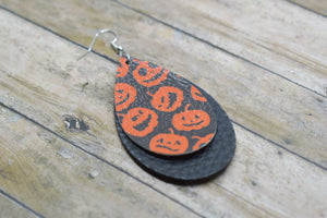 JACK-O-LANTERNS WITH BLACK FAUX LEATHER EARRINGS - TEARDROP - Handmade Creations by Liz